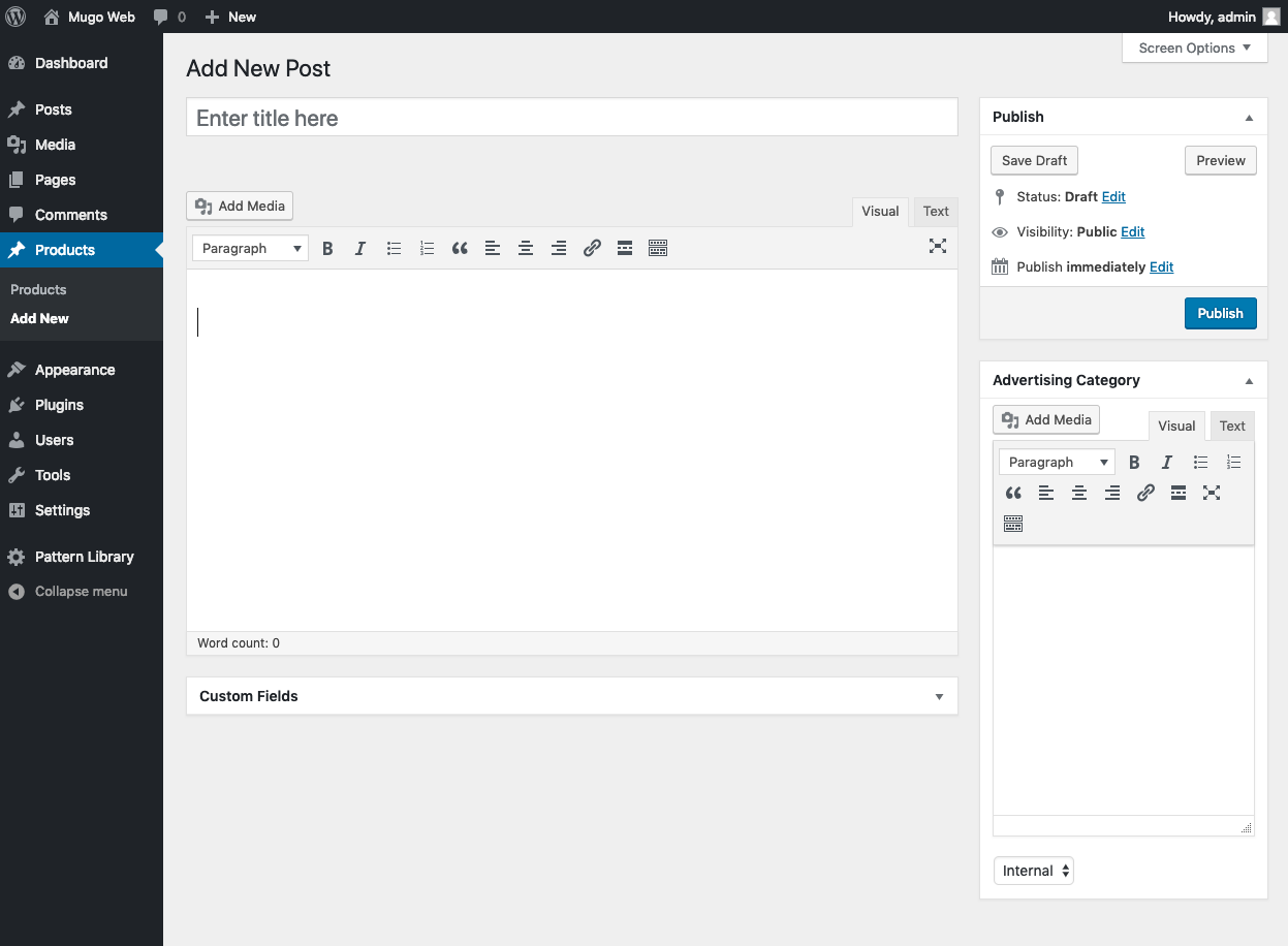 Displays the WordPress administration panel with a New Post screen AND a WYSIWYG editor in the sidebar.