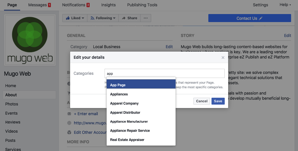 A screenshot of a Facebook Page's settings area.