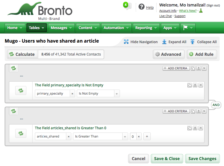 A Bronto list filter displaying two rules.