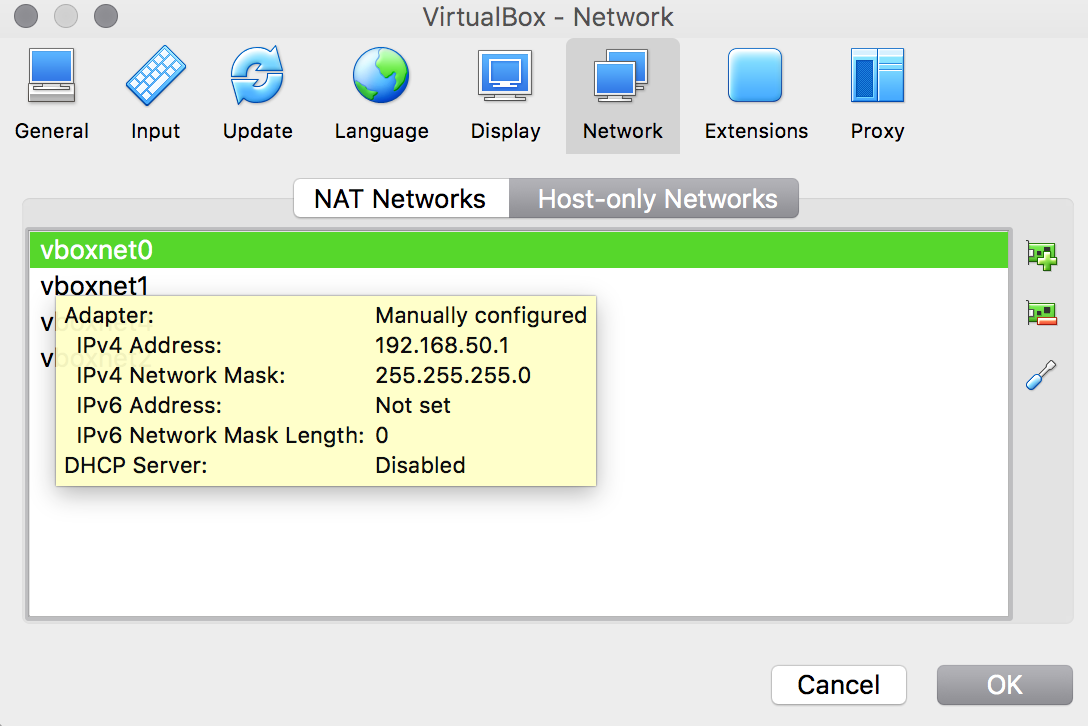 A screenshot of the VirtualBox network settings.
